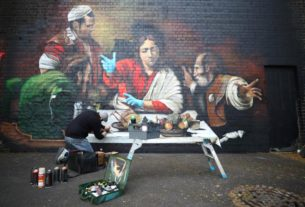 locked-out-of-galleries,-londoners-find-caravaggio-street-art
