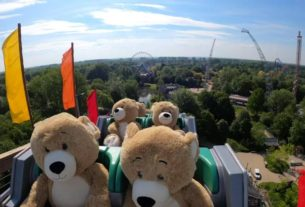 why-are-these-giant-teddy-bears-riding-a-roller-coaster?